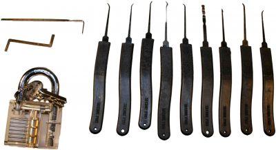 Kleines Lock Picking Werkzeug Set inkl. transparentem Übungsschloss