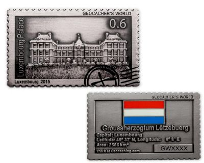 Geocacher's World Geocoin -LUXEMBOURG- Antik Silber