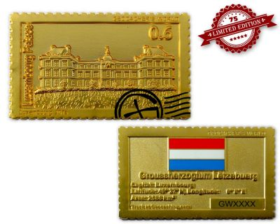 Geocacher's World Geocoin -LUXEMBOURG- Satin Gold XLE 75