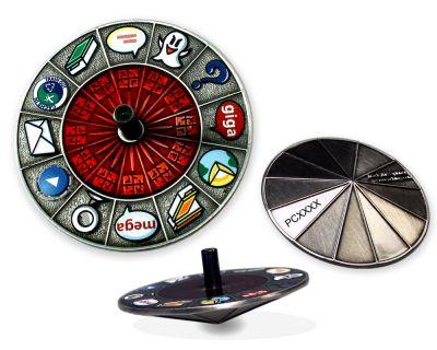 Cache Roulette Spinner Geocoin Antik Silber (Kreisel)