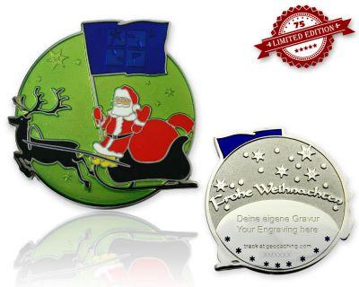 Frohe Weihnachten Weihnachtsmann Geocoin Mango XLE 75