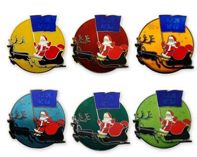 Frohe Weihnachten Weihnachtsmann Geocoin Set (6 Coins)