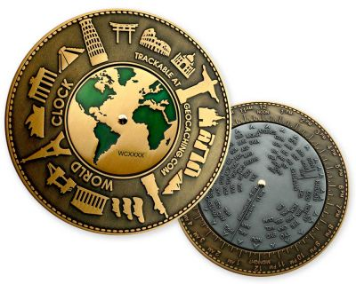 World Clock XXXL Geocoin Classic (funktionale Weltzeituhr)