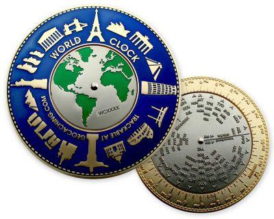 World Clock XXXL Geocoin Oceanblue (funktionale Weltzeituhr)