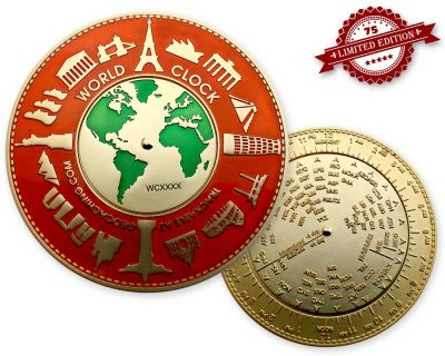 World Clock XXXL Geocoin Red Gold XLE 75 (funkt. Weltzeituhr)