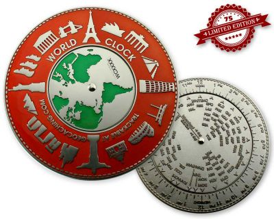 World Clock XXXL Geocoin Red Silver XLE 75 (funkt. Weltzeituhr)