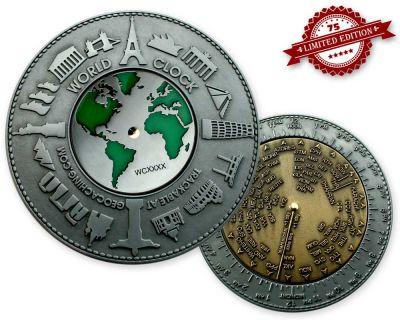 World Clock XXXL Geocoin Silver / Gold XLE 75 (funkt. Weltzeituh
