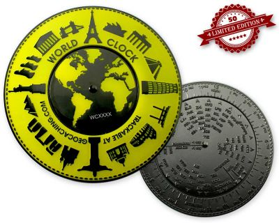 World Clock XXXL Geocoin GLOW XLE 50 (working World Clock)