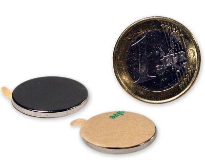 10 St?ck selbstklebende Scheibenmagnete ? 20,0 x 2,0 mm