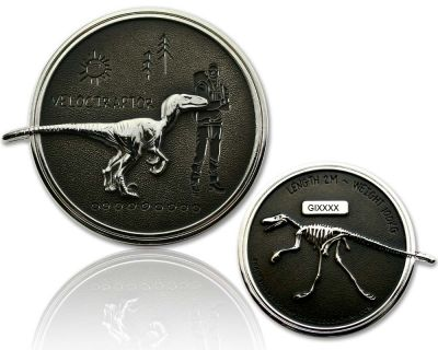 Velociraptor Geocoin Silber / Black RE
