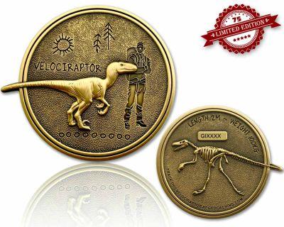 Velociraptor Geocoin Antik Gold XLE 75