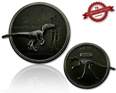 Velociraptor Geocoin Black Nickel XLE 75