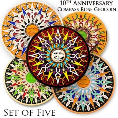 Compass Rose Geocoin 10th Anniversary - Set 5 Coins inkl Limited
