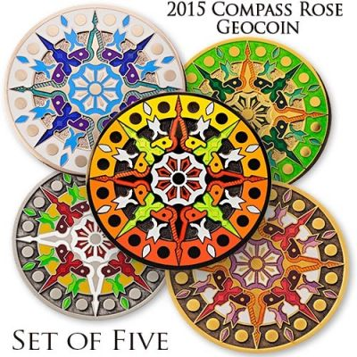 Compass Rose Geocoin 2015 - Set 5 Coins inkl. Limited