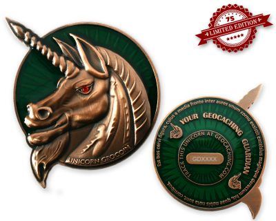 Unicorn - Geocaching Guardian Geocoin Antik Kupfer XLE 75