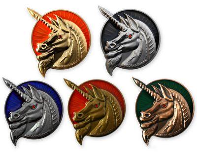 Unicorn - Geocaching Guardian Geocoin Sammler Set (5 Geocoins)