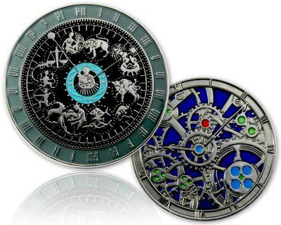 Astronomische Uhr Geocoin Poliertes Silber