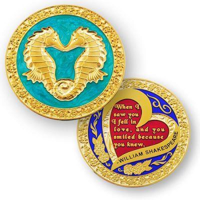 Seahorse Valentine Geocoin - Poliertes Gold