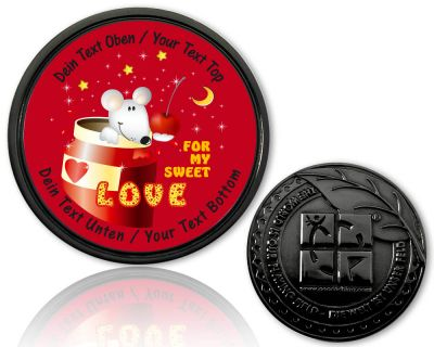 Valentine Love Geocoin Black Nickel mit deinem Text