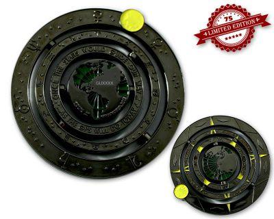 Geocaching Universe Geocoin - BLACK GLOW (drehbar) XLE 75