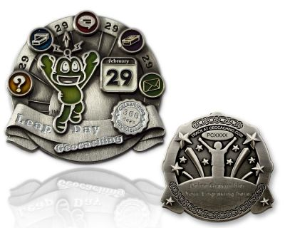 Leap Day Geocoin Antik Silber