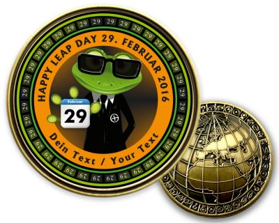 Happy Leap Day 2020 - Geocoin - Antik Gold - mit deinem Text