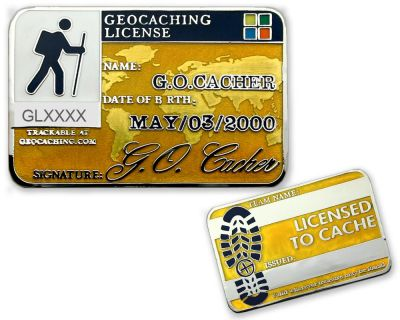 Geocaching License Geocoin - Energetic (opt. mit Gravur)