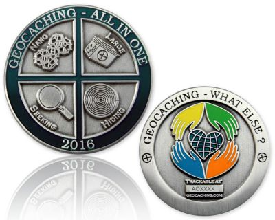 Geocaching - All In One Geocoin 2016 Antik Silber RE