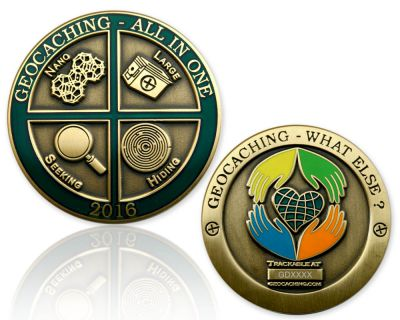 Geocaching - All In One Geocoin 2016 Antik Gold RE