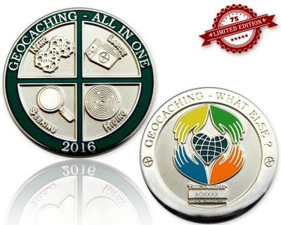 Geocaching - All In One Geocoin 2016 Poliertes Silber