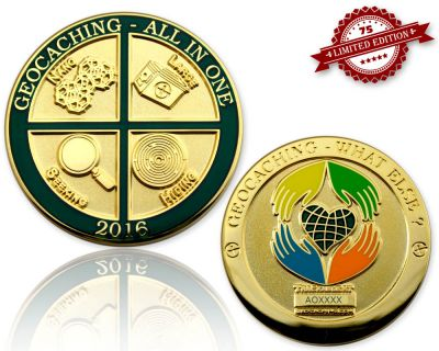 Geocaching - All In One Geocoin 2016 Poliertes Gold