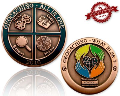 Geocaching - All In One Geocoin 2016 Antik Kupfer XLE 75