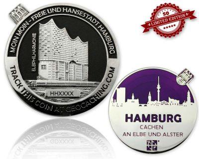 Hamburg Geocoin Black Nickel / Silber - VIOLETT XLE 50