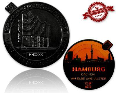 Hamburg Geocoin Black Nickel - ORANGE XLE 50
