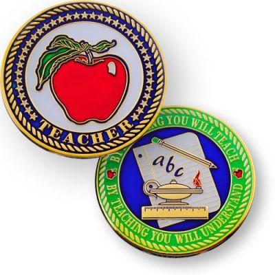 Teacher (Lehrer) Geocoin Poliertes Gold