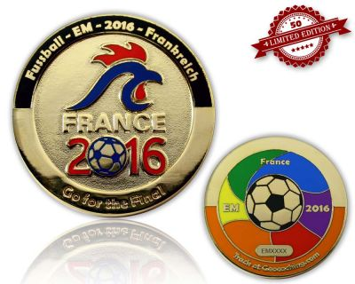 Fussball EM 2016 Geocoin Poliertes Gold XLE 50