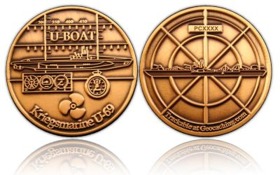 U-Boat Geocoin Antik Gold