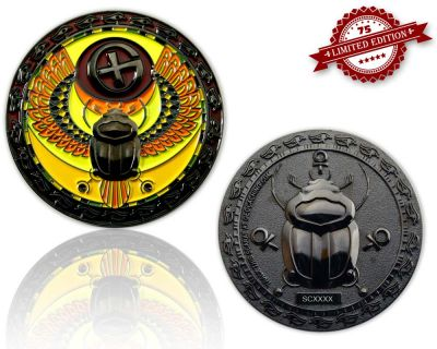 Scarab Geocoin Black Nickel XLE 75