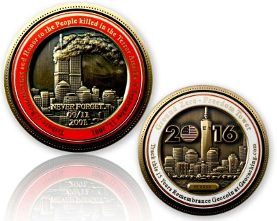 9-11 Remembrance Geocoin Antik Gold