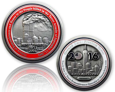9-11 Remembrance Geocoin Antik Silber