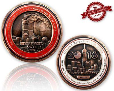 9-11 Remembrance Geocoin Antik Kupfer