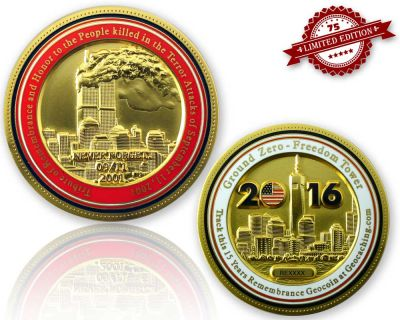 9-11 Remembrance Geocoin Satin Gold XLE 75