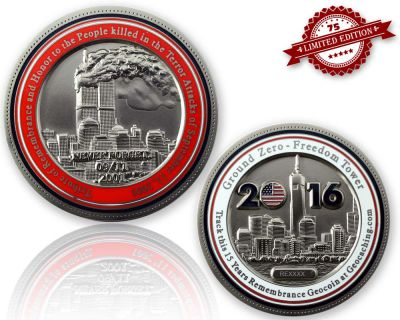 9-11 Remembrance Geocoin Satin Silber XLE 75