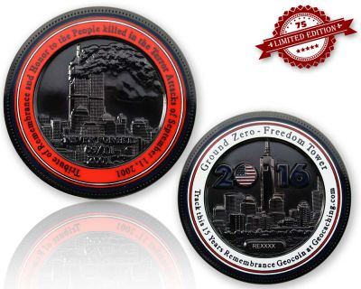 9-11 Remembrance Geocoin Black Nickel XLE 75