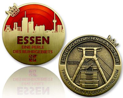 Essen Geocoin Antik Gold - ROT