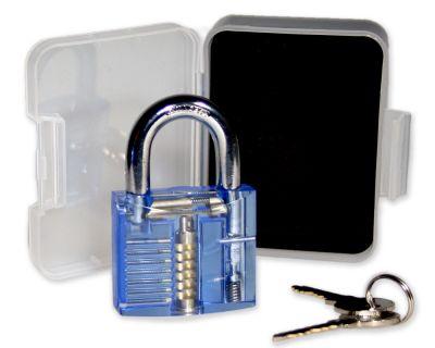 Lockpicking Übungsschloss blau / transparent