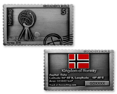 Geocacher's World Geocoin -NORWAY- Antik Silber