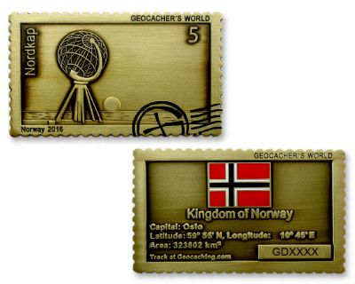 Geocacher's World Geocoin -NORWAY- Antik Gold