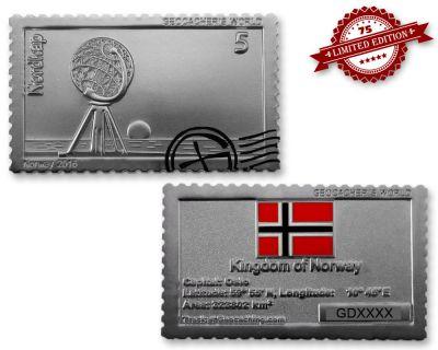 Geocachers World - Norway- Geocoin Satin Silber