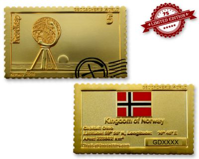 Geocacher's World Geocoin -NORWAY- Satin Gold XLE 75